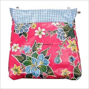 Postvanger donkerroze met bloemen / ruit lichtblauw